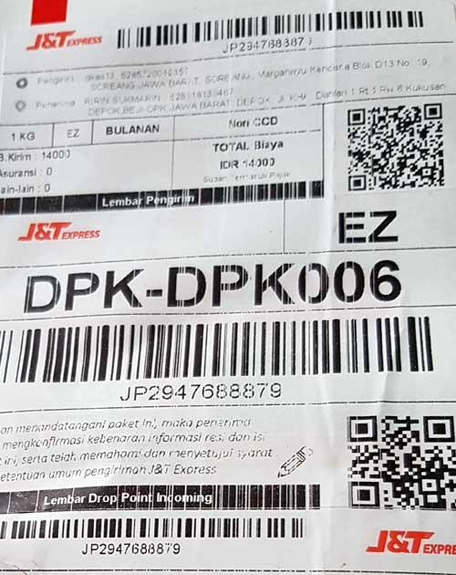 Contoh resi J&T Express